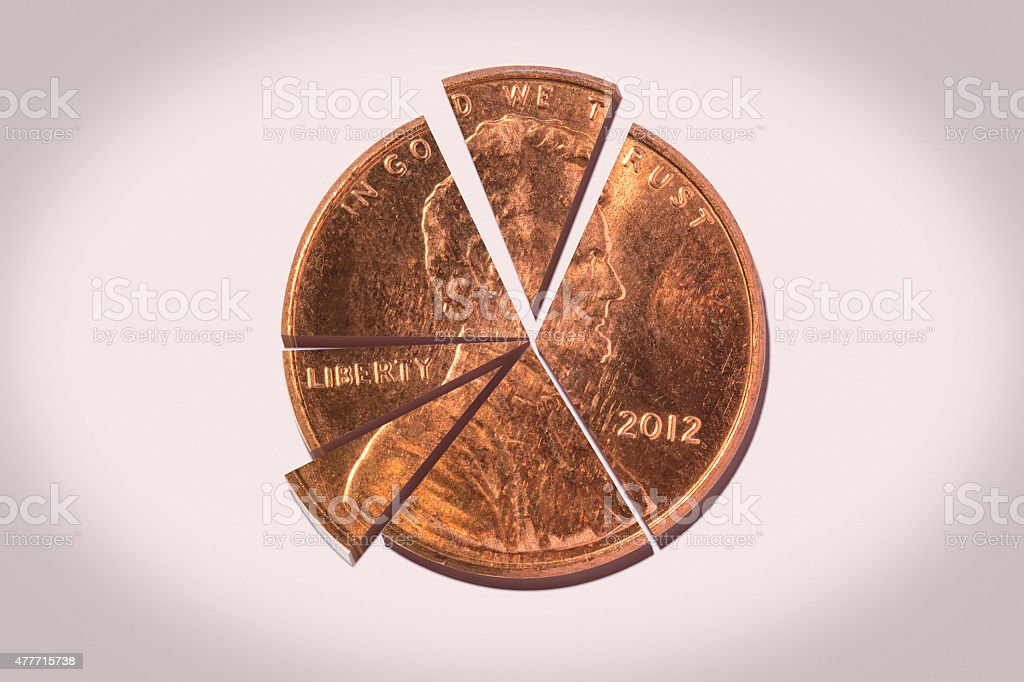 Penny Pie Chart stock photo