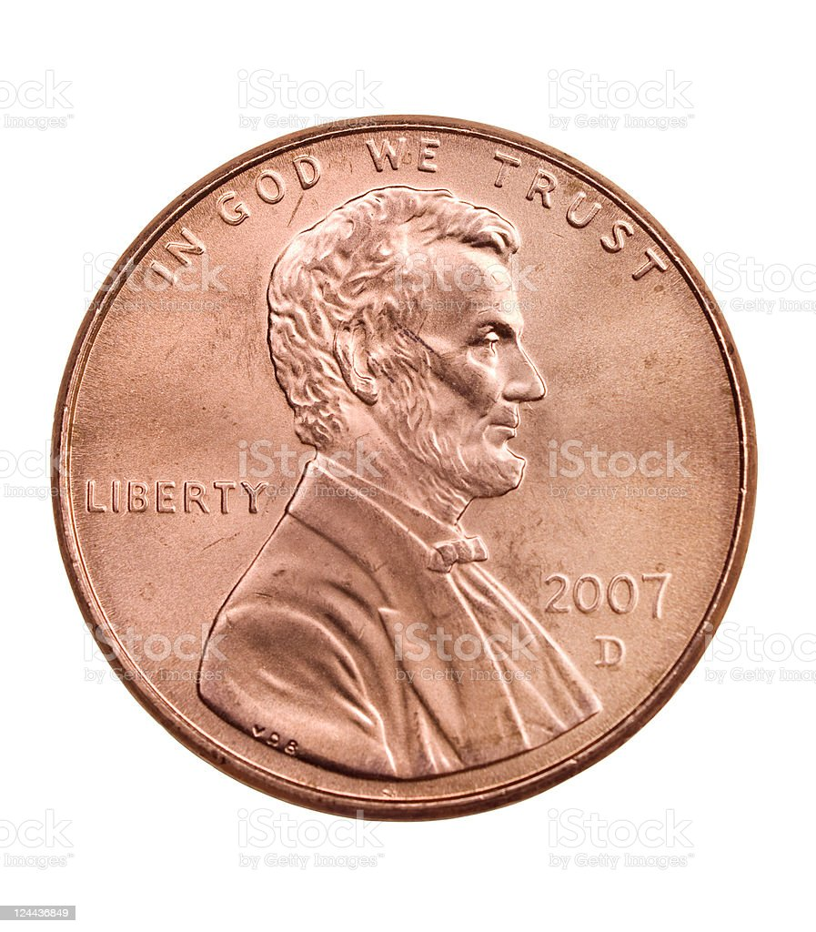 penny with path stock photo
