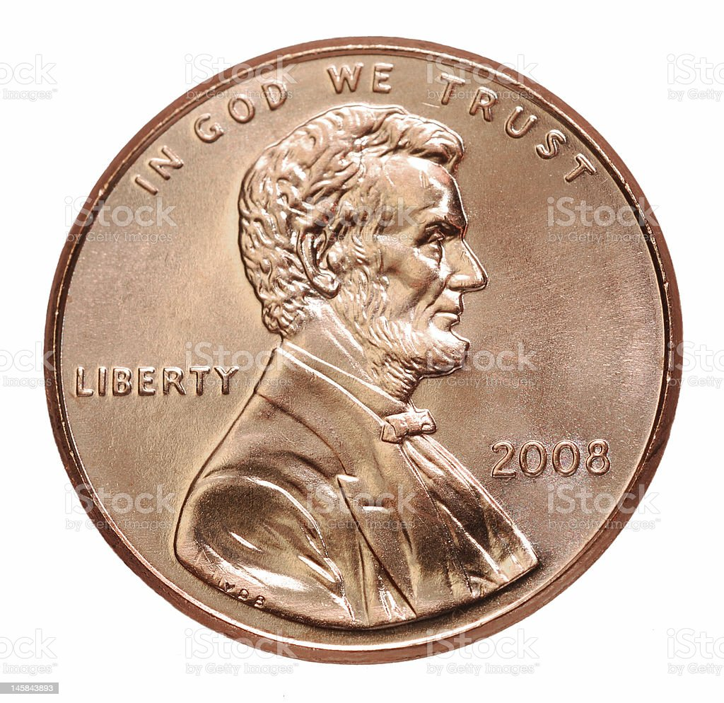 2008 penny with President Lincoln on a white background stock photo