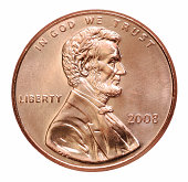 2008 penny with President Lincoln on a white background