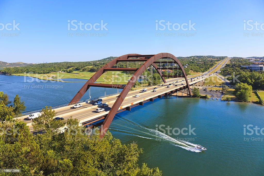 Pennybacker 360 bridge and Colorado River near Austin Texas stock photo