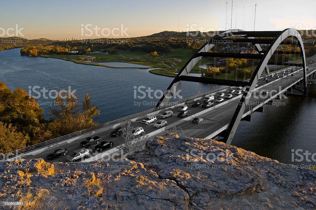 Pennybacker 360 Bridge Black and white Color Background stock photo