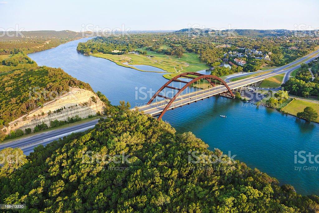Pennybacker 360 bridge, Colorado River, Austin Texas, aerial panorama stock photo