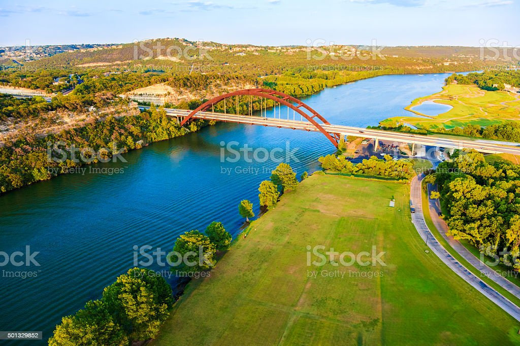 Pennybacker 360 bridge, Colorado River, Austin Texas, aerial panorama stock photo