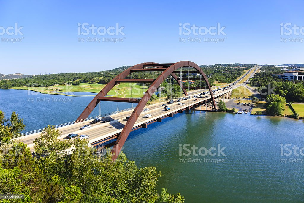Pennybacker 360 bridge on Colorado River near Austin Texas stock photo