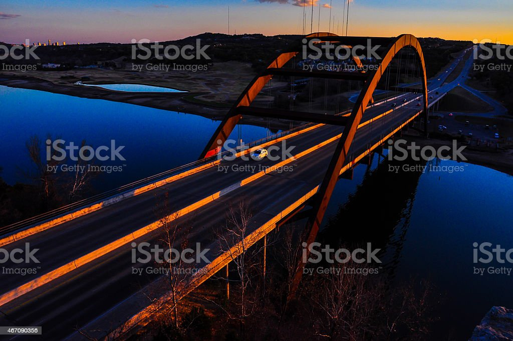 Pennybacker Bridge 360 Bridge Austin Local Iconic Landmark stock photo