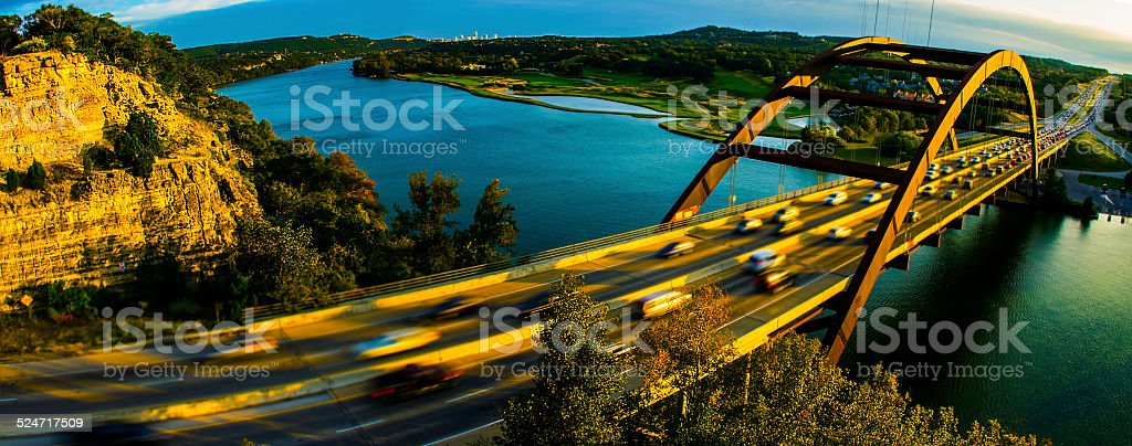 PennyBacker Bridge 360 Bridge Panoramic Golden Hour Sunset Austin Texas stock photo