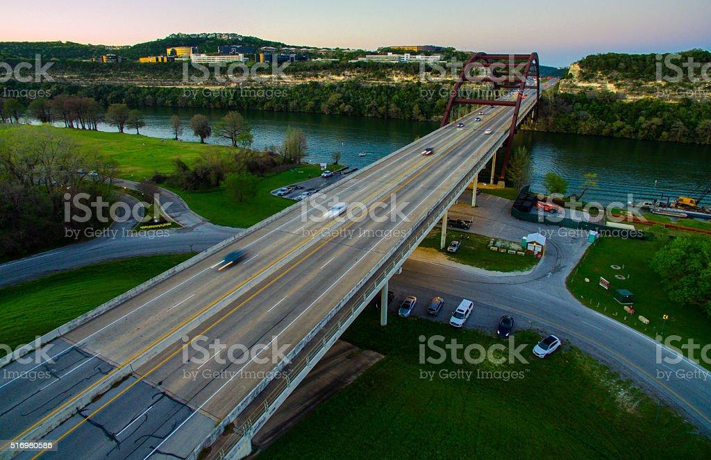 Pennybacker Bridge Aerial View over Colorado River Divide stock photo