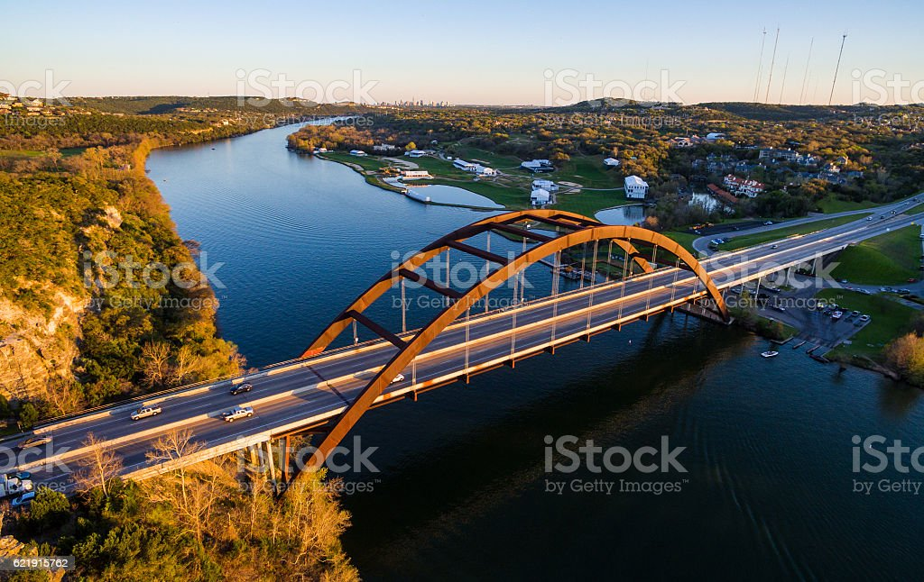 Pennybacker Bridge Aerial View Texas Hill Country Sunset stock photo
