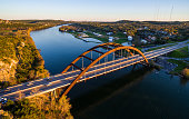 Pennybacker Bridge Aerial View Texas Hill Country Sunset