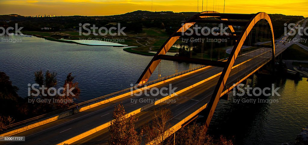 PennyBacker (360) Bridge at Sunset with Austin behind stock photo