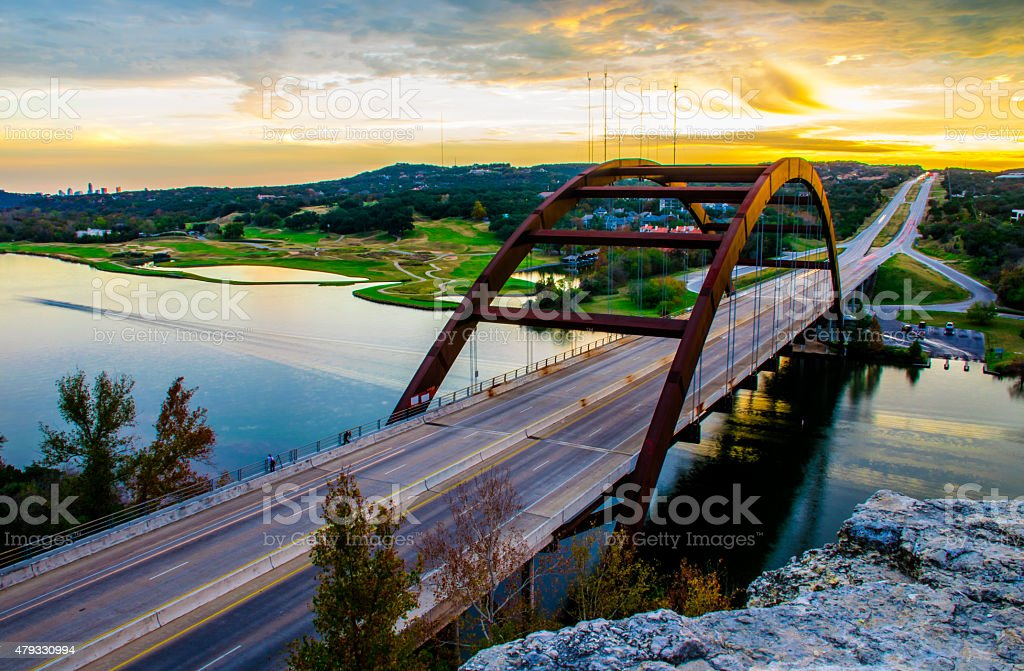 Pennybacker Bridge Austin Landscape Colorado Bridge Sunset stock photo
