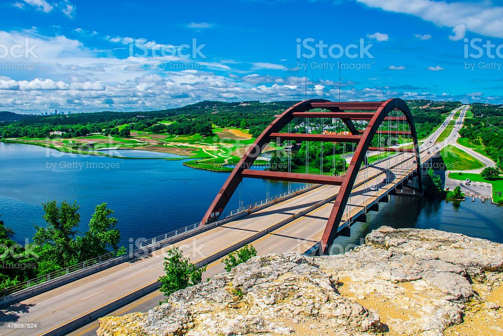 Pennybacker Bridge Austin, Texas , USA Loop 360 Central Texas stock photo