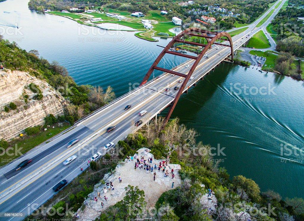 Pennybacker Bridge Austin , TX Over Large Crowd of Tourists stock photo