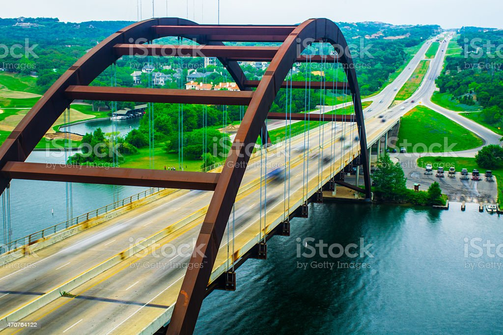 Pennybacker Bridge Close Up Spring Time 360 Bridge stock photo