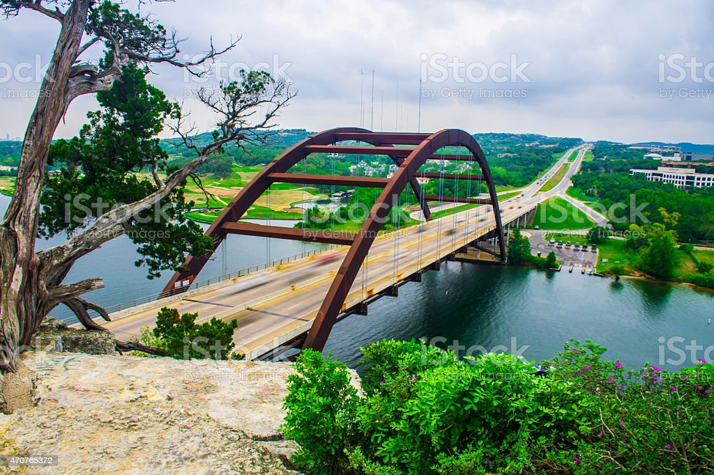 Pennybacker Bridge Flowers Tree Iconic Austin Spot stock photo
