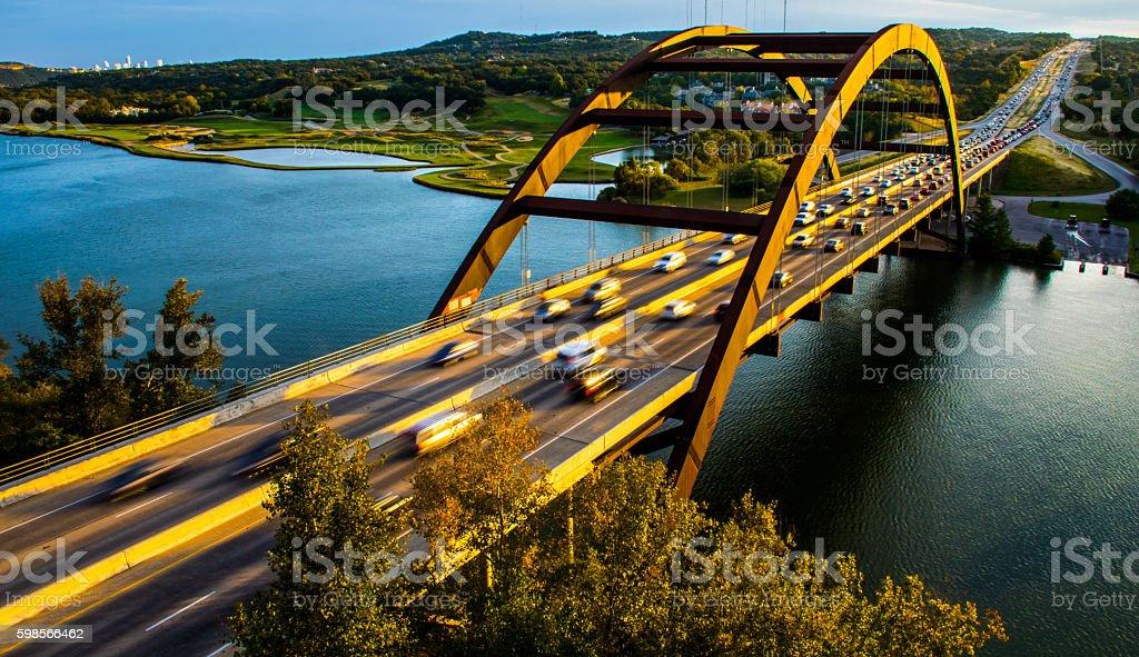 Pennybacker Bridge Golden Sunset Texas Hill Country stock photo