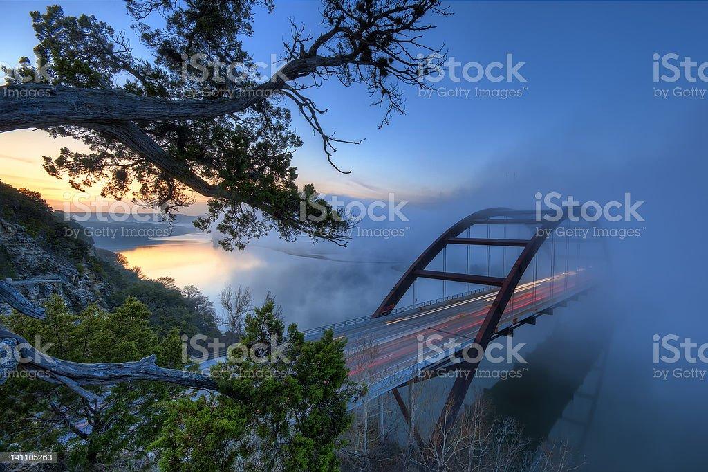 Pennybacker Bridge in Morning Fog stock photo