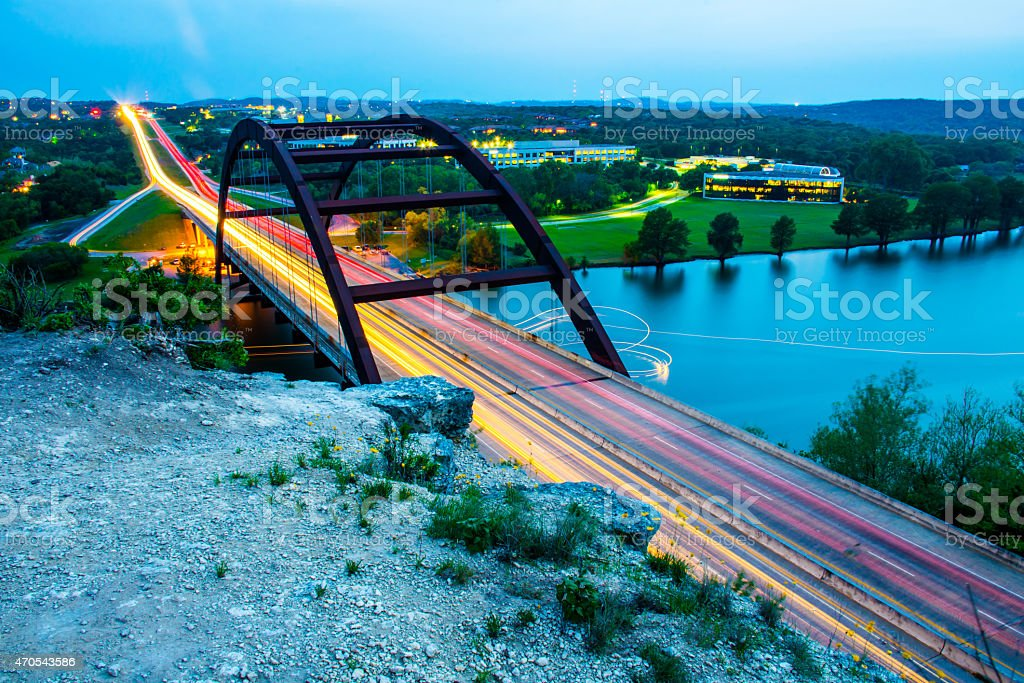 Pennybacker Bridge Long Exposure West Cliff 360 Bridge stock photo