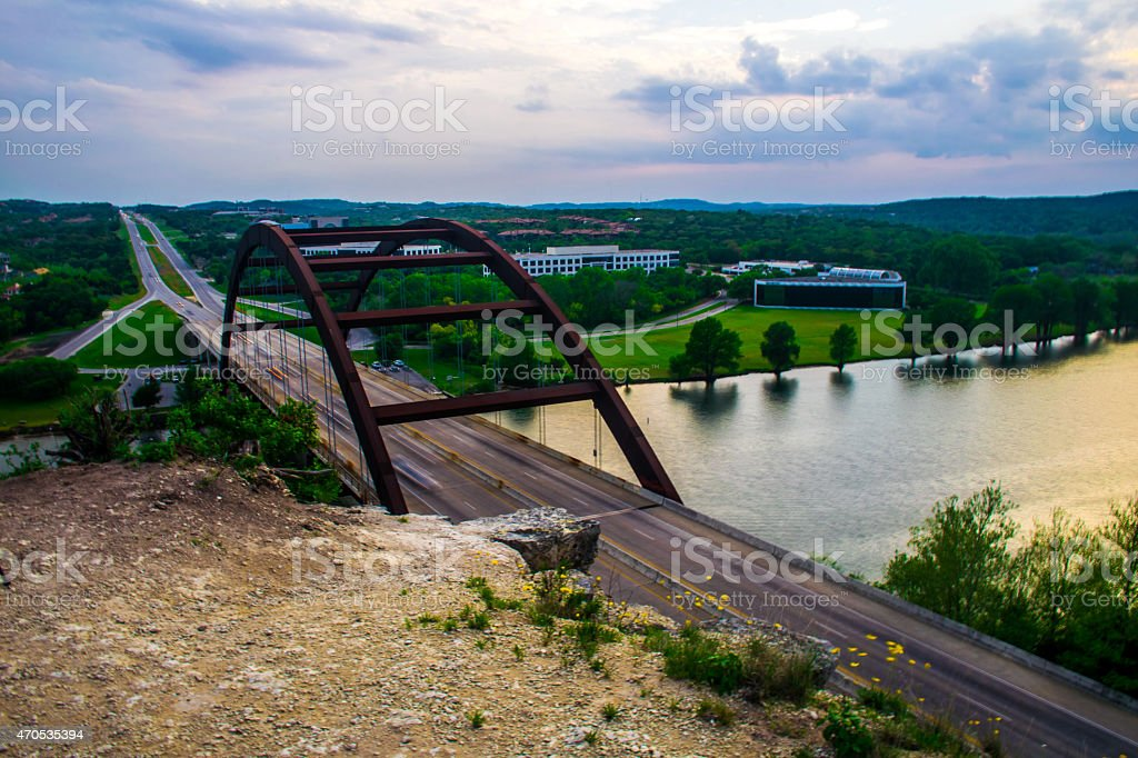 Pennybacker Bridge or 360 Bridge at Sunset stock photo