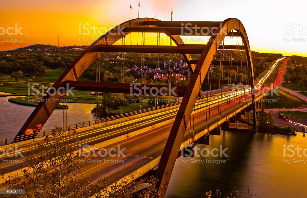 Pennybacker Bridge or 360 bridge Austin Texas USA Gold Sunset stock photo