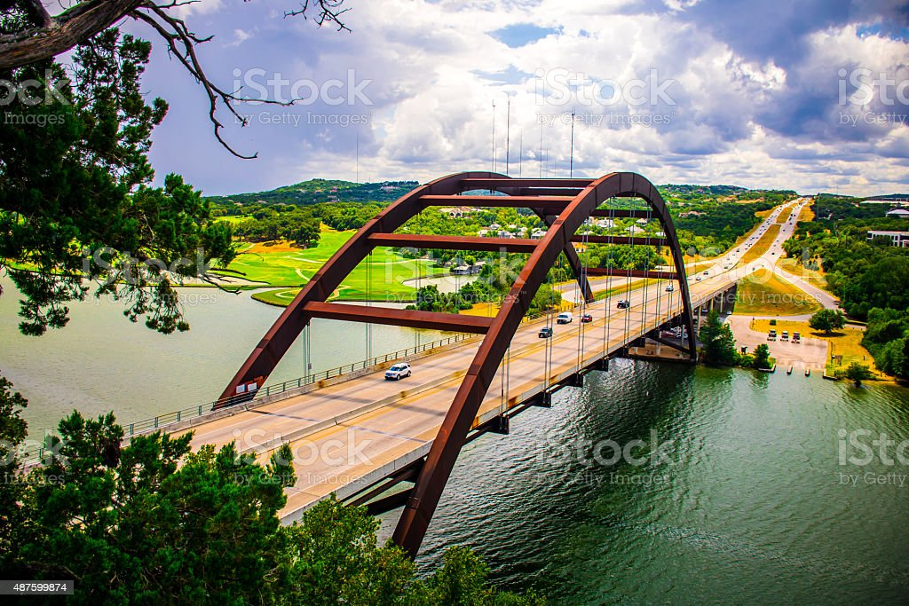 Pennybacker Bridge or 360 Bridge September 2015 USA Capital of Texas stock photo