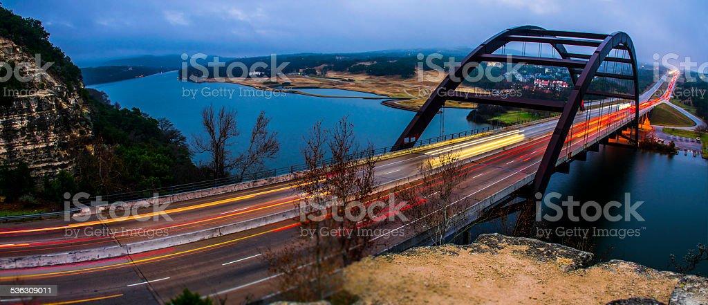 Pennybacker Bridge Panoramic Long Exposure Foggy Morning Amazement stock photo