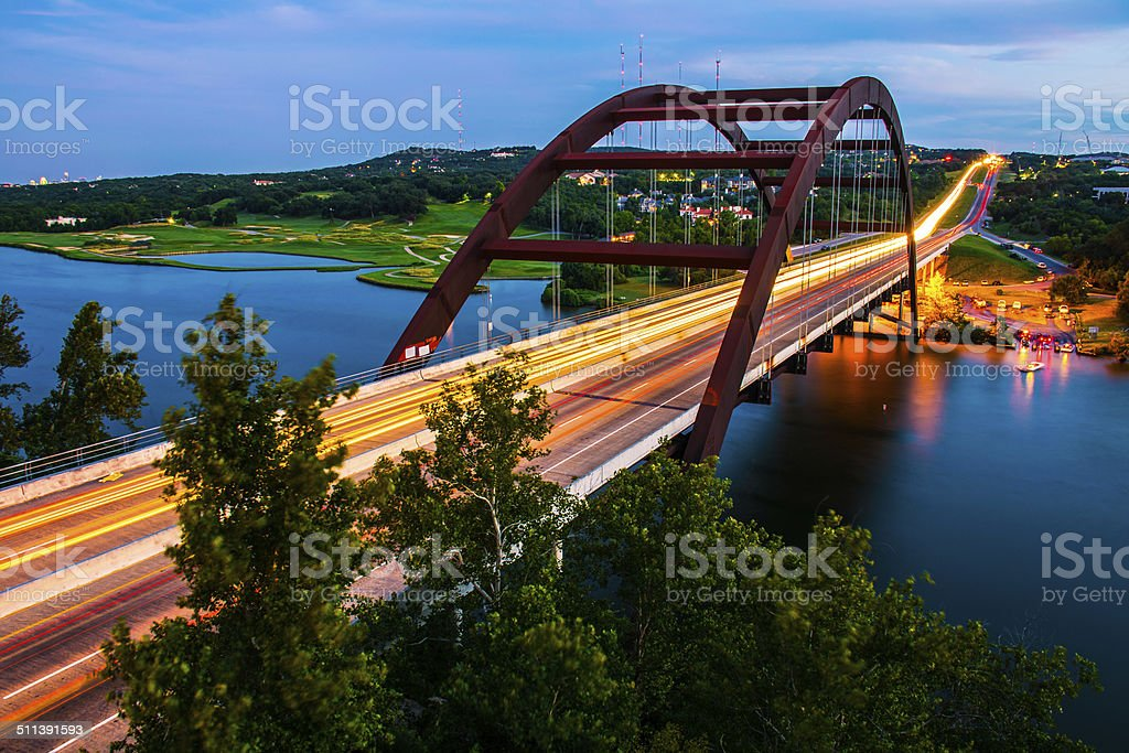 Pennybacker bridge right after the sun went down Austin stock photo