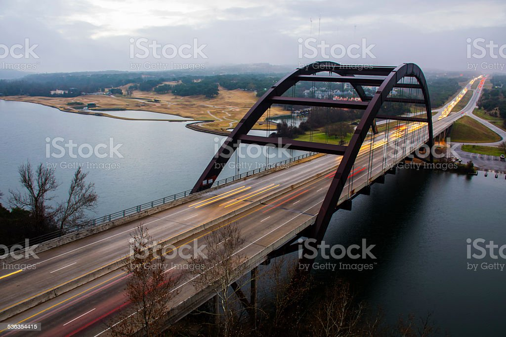 Pennybacker Loop 360 Bridge Austin Texas Patchy Fog stock photo