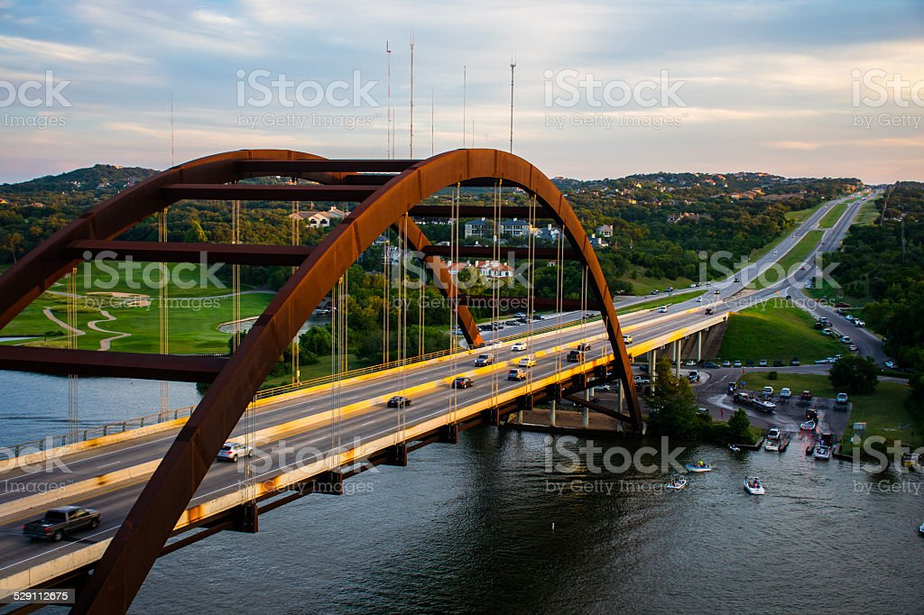 Pennybacker or 360 Bridge on a Busy Boat Day stock photo