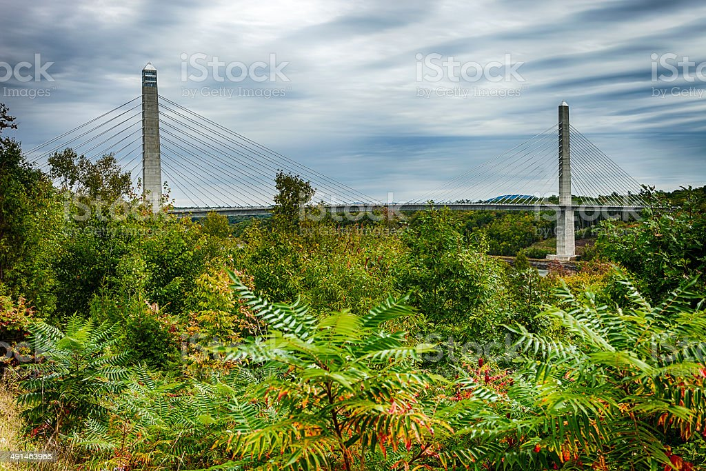 Penobscot Narrows Bridge And Observatory In Bucksport, Maine stock photo
