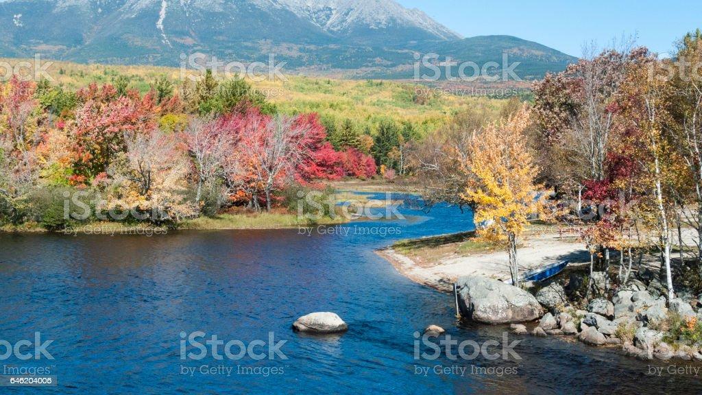 Penobscot River Mt. Katahdin stock photo