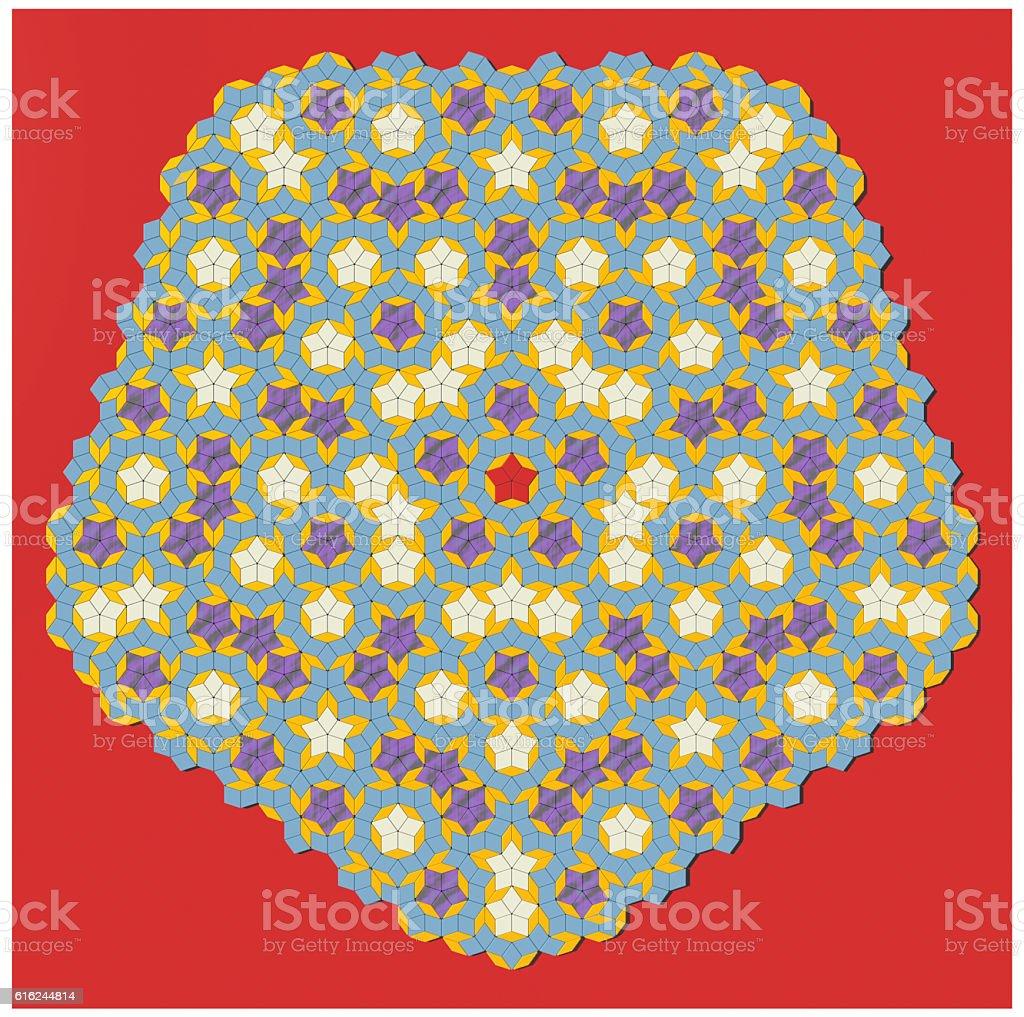 Penrose aperiodic tiling 2500 coloured 3D tiles decorative pattern stock photo