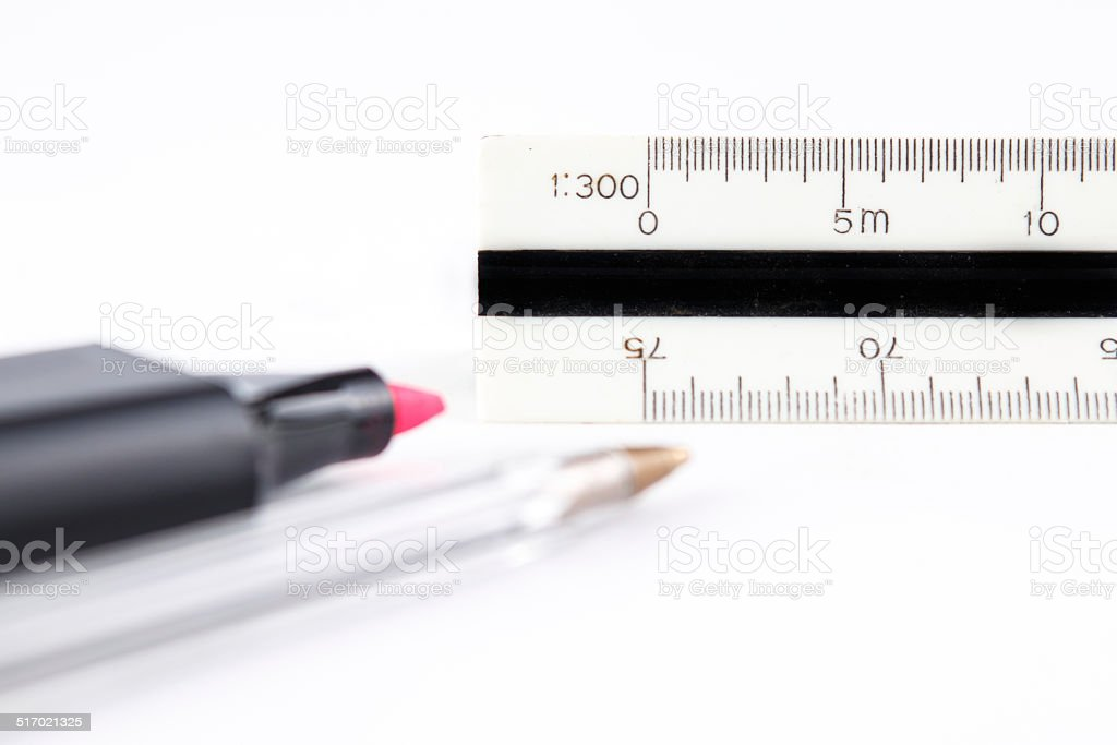 Pens and scaler stock photo