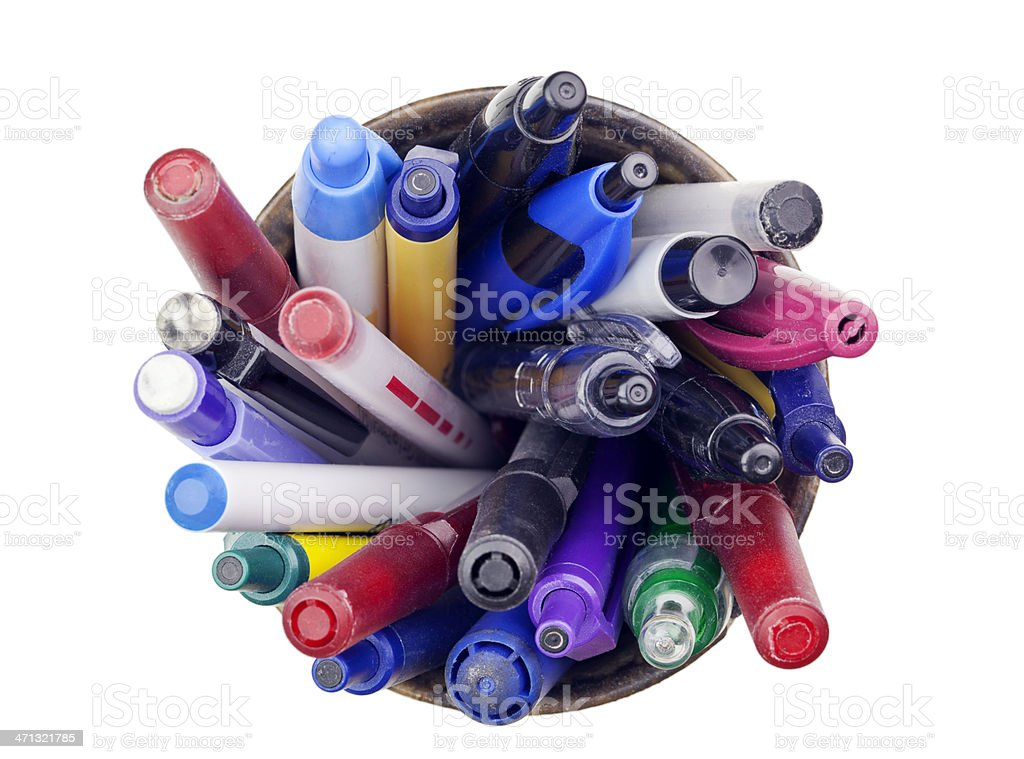 Pens, Pencils, and Markers in a Cup Holder stock photo