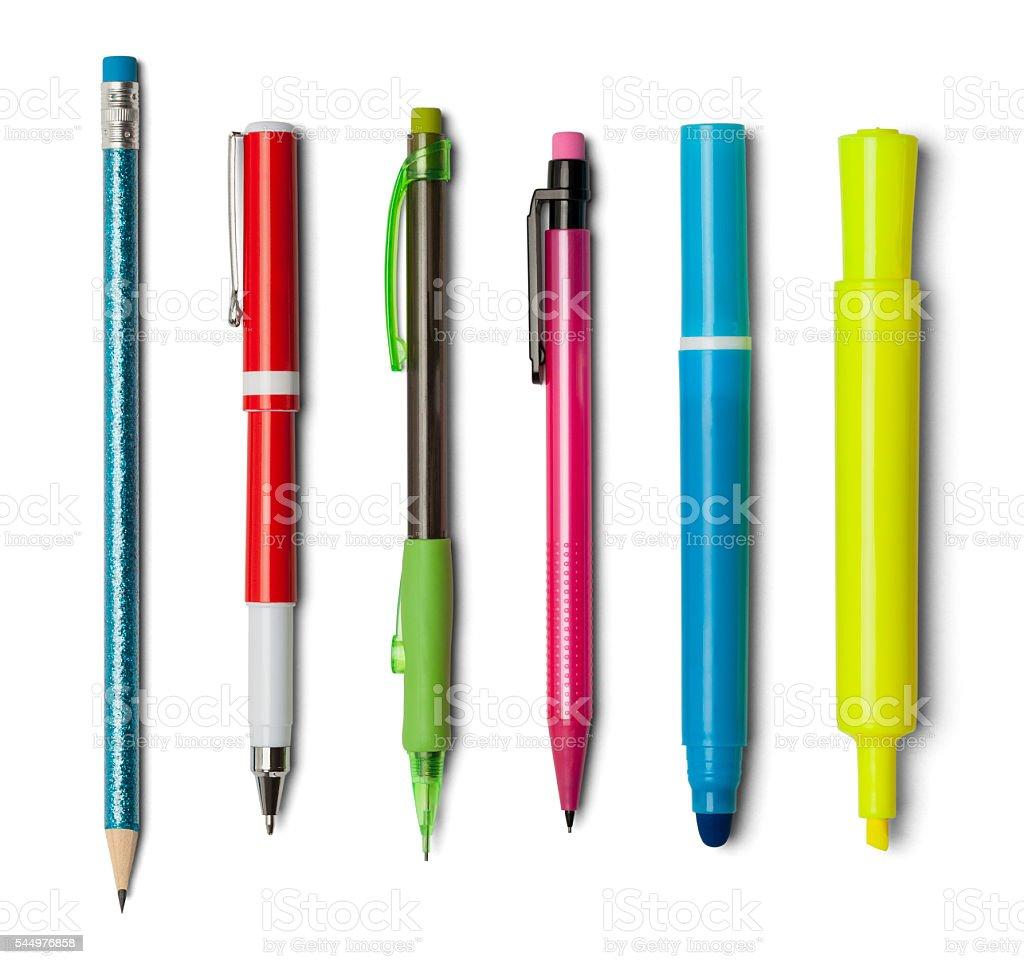 Pens Pencils Markers stock photo