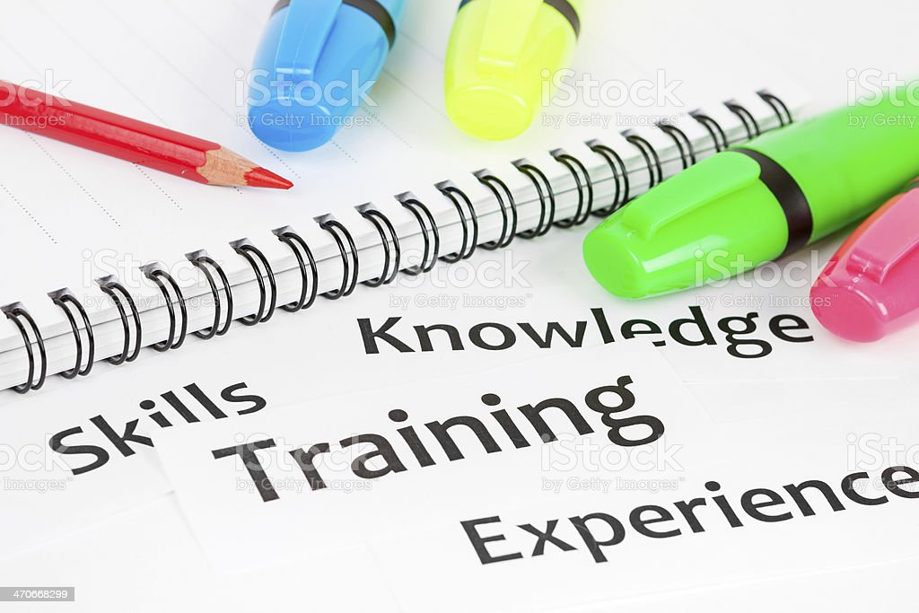 Pens sit on print headlines about skills training royalty-free stock photo