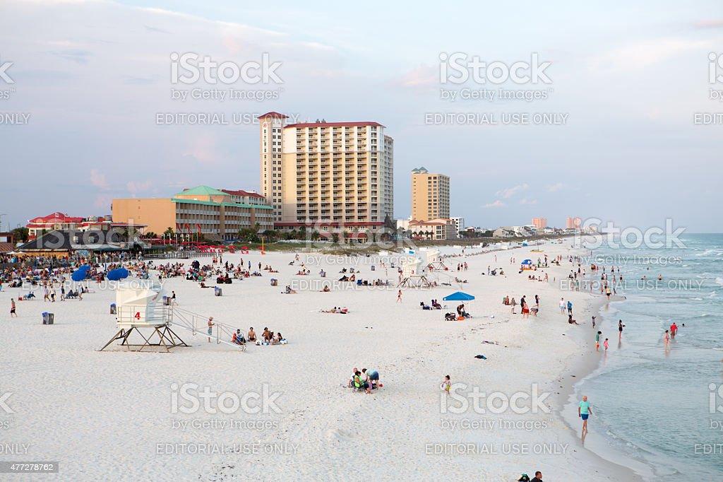 Pensacola beach at sunset stock photo