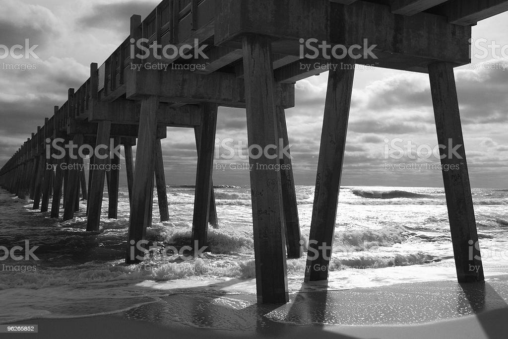Pensacola Beach Pier Silhouette (B&W) stock photo