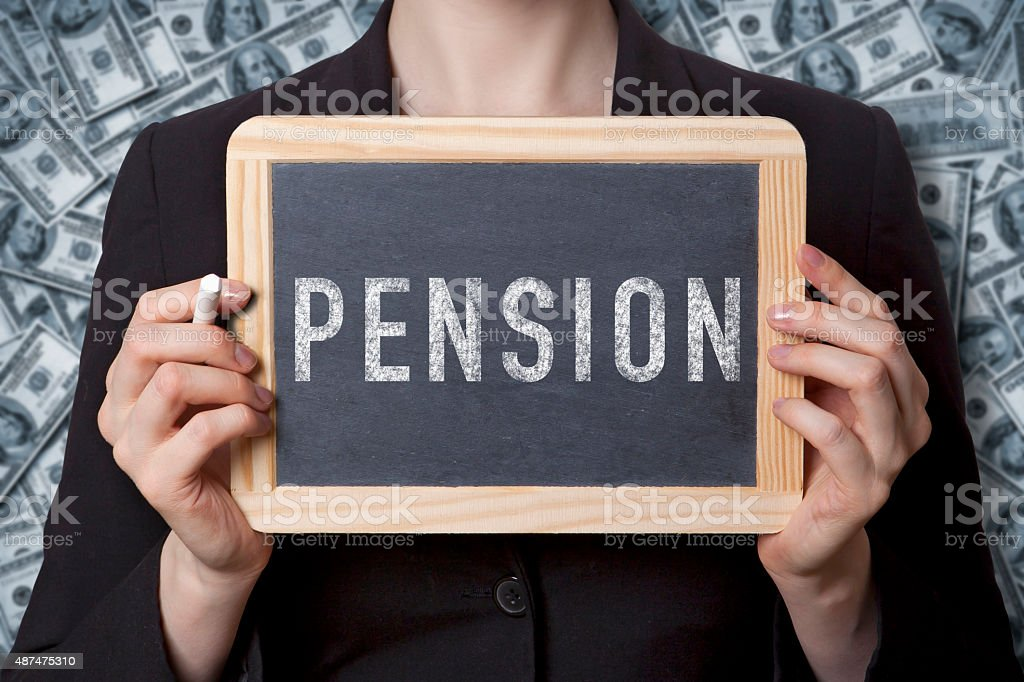 Pension black board stock photo