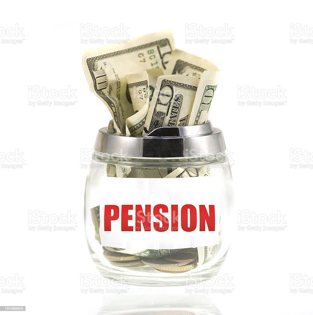 Pension Dollar Savings in glass royalty-free stock photo
