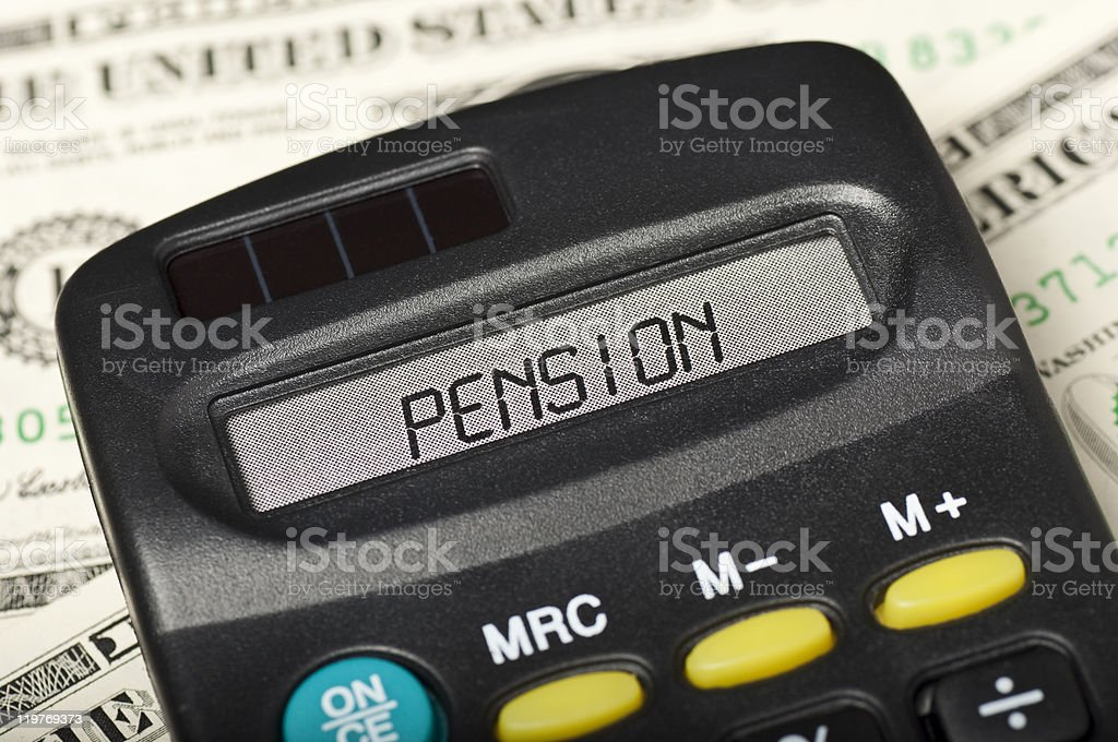 Pension on calculator display royalty-free stock photo