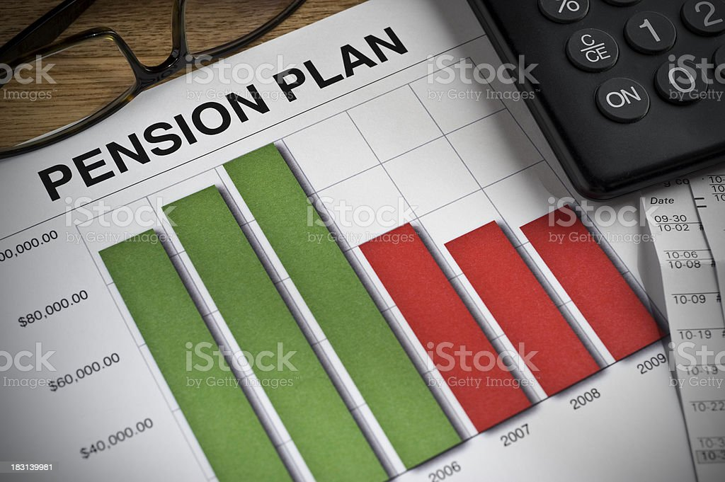 Pension Plan printed bar graph on a desk. stock photo