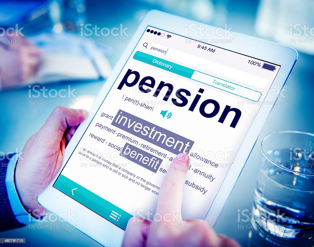 Pension Retirement Income compensation Office Business Concept stock photo