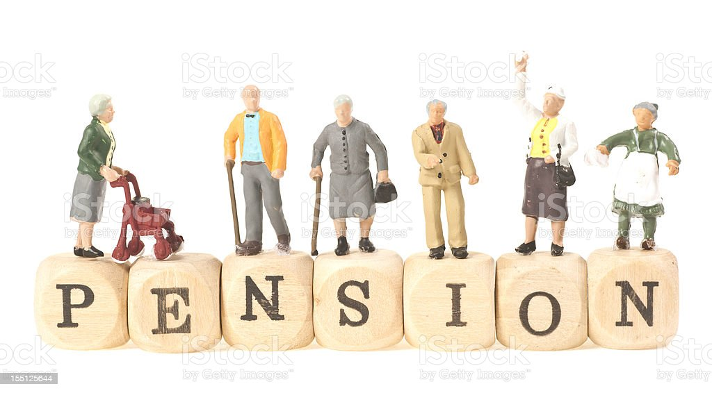 pension word with pensioner stock photo