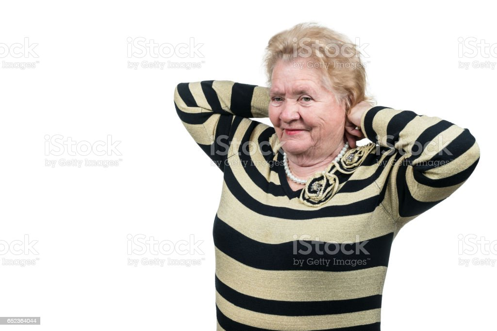 Pensioner tries beads stock photo