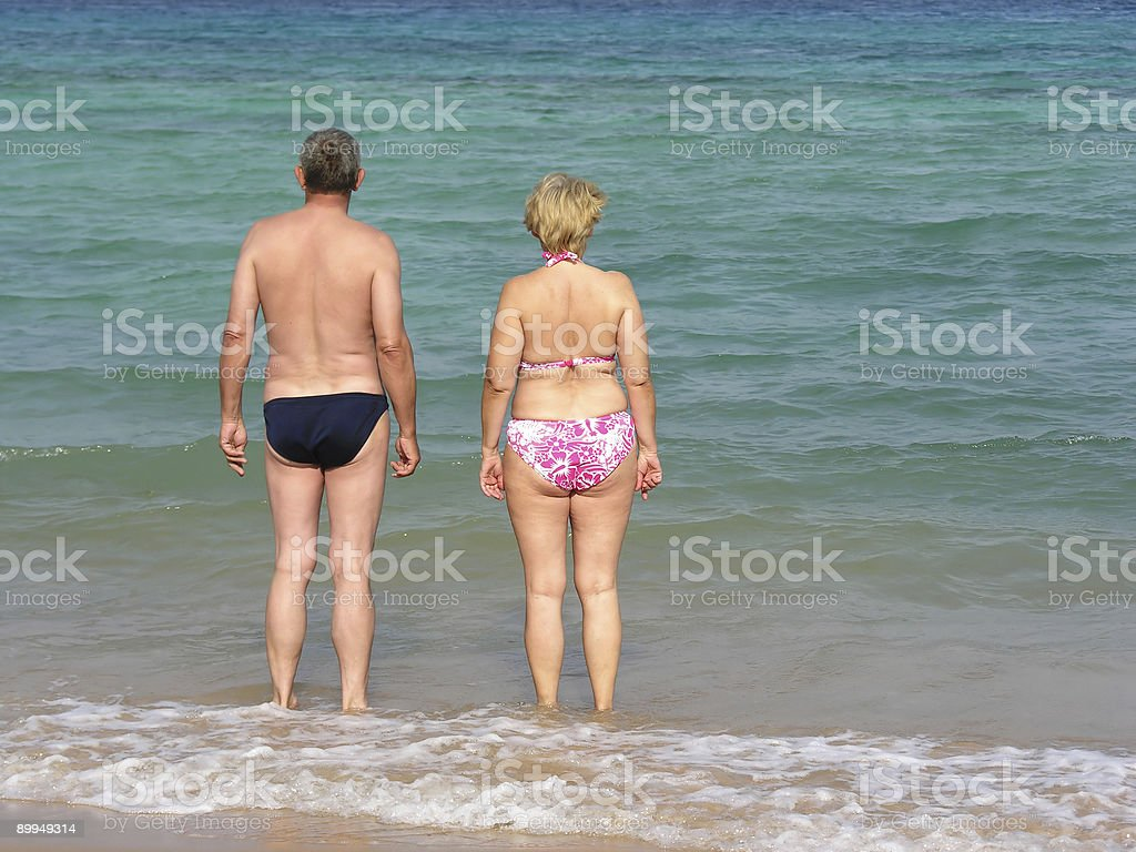 pensioneres on the beach royalty-free stock photo