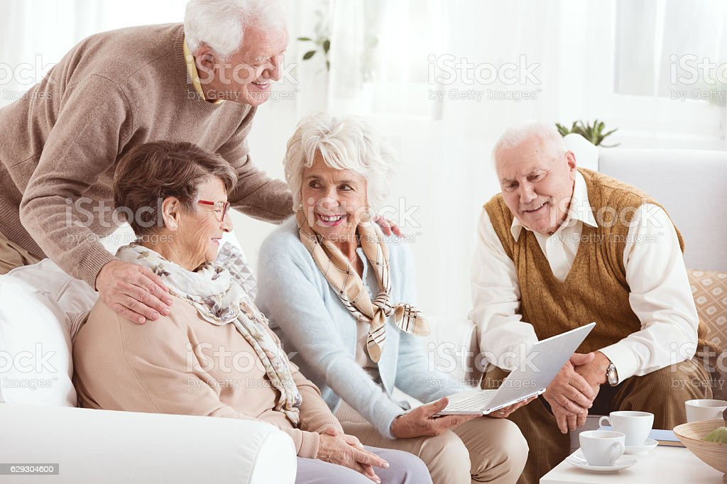 Pensioners of senior house stock photo