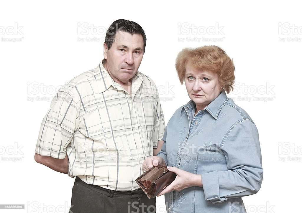 Pensioners with regret face. In hadns-empty wallet stock photo