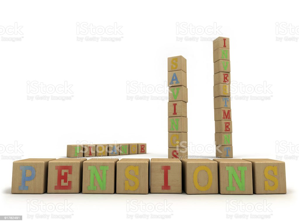 Pensions concept - Child's play building blocks stock photo